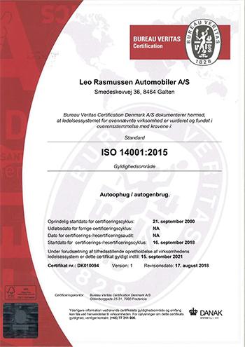 Dk010094 1 Leo Rasmussen Automobiler As Iso 14001Danak Dk Cert